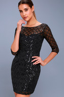 Party Favor Black Sequin Bodycon Dress 3