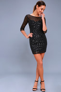 Party Favor Black Sequin Bodycon Dress 2