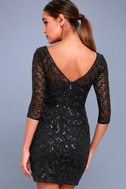 Party Favor Black Sequin Bodycon Dress 5