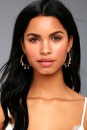 Tayrona Gold Rhinestone Hoop Earrings 1