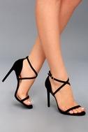 Trixy Black Suede Ankle Strap Heels 5