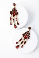 Sinead Gold and Burgundy Rhinestone Earrings 2