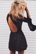Smyth Bronze and Black Sequin Long Sleeve Mini Dress 5