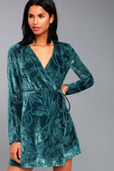 Modern Decadence Long Sleeve Teal Blue Velvet Wrap Dress 3