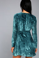 Modern Decadence Long Sleeve Teal Blue Velvet Wrap Dress 4