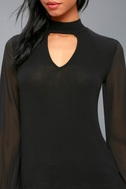 Enticing Invitation Black Long Sleeve Mock Neck Top 4