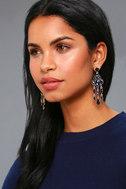Sinead Gold and Navy Blue Rhinestone Earrings 1