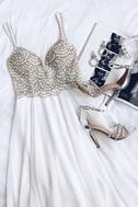 True Love White Beaded Rhinestone Maxi Dress 5