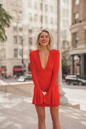 Free People Talk About It Coral Red Long Sleeve Mini Dress 5