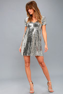 Light Up the Night Silver Sequin Shift Dress 2