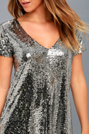 Light Up the Night Silver Sequin Shift Dress 4