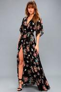 Sweet Bouquet Black Floral Print Wrap Maxi Dress 1