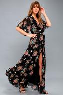 Sweet Bouquet Black Floral Print Wrap Maxi Dress 2