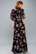 Sweet Bouquet Black Floral Print Wrap Maxi Dress 3