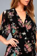 Sweet Bouquet Black Floral Print Wrap Maxi Dress 4