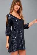 Moment to Shine Navy Blue Sequin Shift Dress 3