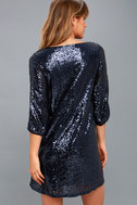 Moment to Shine Navy Blue Sequin Shift Dress 4