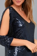 Moment to Shine Navy Blue Sequin Shift Dress 5