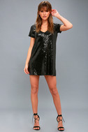 Light Up the Night Black Sequin Shift Dress 2