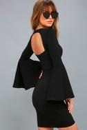 Style Spotlight Black Flounce Sleeve Bodycon Dress 2