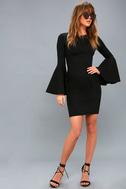 Style Spotlight Black Flounce Sleeve Bodycon Dress 1