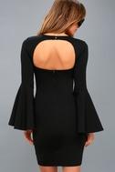 Style Spotlight Black Flounce Sleeve Bodycon Dress 3