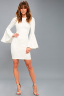 Style Spotlight White Flounce Sleeve Bodycon Dress 1