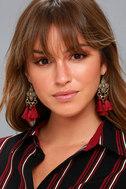 Eudora Gold and Burgundy Tassel Earrings 3