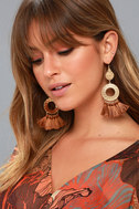 Ornament to Be Gold and Brown Tassel Earrings 3