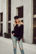 Good Going Black Knit Off-the-Shoulder Sweater 5
