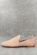 Gaga Light Taupe Snake Suede Leather Loafers 2