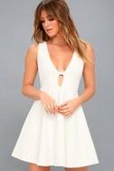 Take The Plunge White Skater Dress 2