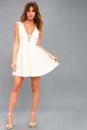 Take The Plunge White Skater Dress 1