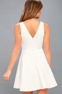 Take The Plunge White Skater Dress 3