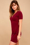 Rowen Wine Red Asymmetrical Bodycon Dress 3