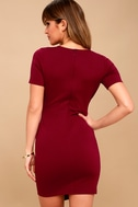 Rowen Wine Red Asymmetrical Bodycon Dress 4