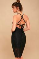 Wishful Wanderings Black Lace Bodycon Midi Dress 3