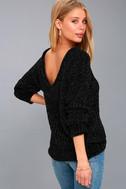 V Cute Black Chenille Knit Sweater 3