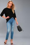 V Cute Black Chenille Knit Sweater 1