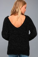 V Cute Black Chenille Knit Sweater 4