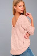 V Cute Blush Pink Chenille Knit Sweater 2