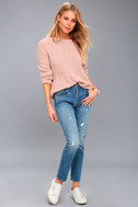 V Cute Blush Pink Chenille Knit Sweater 1