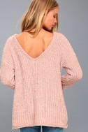 V Cute Blush Pink Chenille Knit Sweater 3