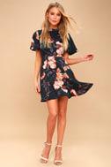 Jasmine Midnight Blue Floral Print Satin Skater Dress 5