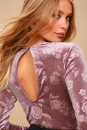 Get Romantic Mauve Velvet Floral Print Long Sleeve Bodysuit 9