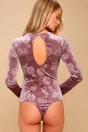 Get Romantic Mauve Velvet Floral Print Long Sleeve Bodysuit 11