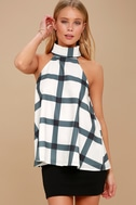 On Gridlock Ivory and Grey Print Top 8