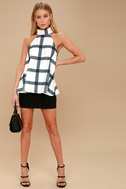 On Gridlock Ivory and Grey Print Top 7