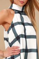 On Gridlock Ivory and Grey Print Top 10
