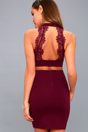 Chic My Interest Burgundy Lace Two-Piece Dress 8